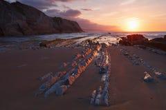 在巴斯克地区海滩Zumaia,西班牙的复理层 免版税图库摄影