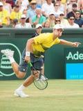 在戴维斯杯双期间,澳大利亚网球员约翰凝视 图库摄影