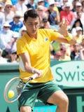 在戴维斯杯期间的澳大利亚网球员伯纳德・托米奇选拔反对从美国的杰克・索克 免版税库存照片