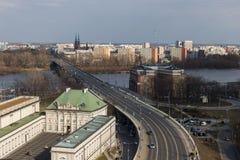 在维斯瓦河的华沙视图 库存图片