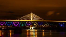 在维斯瓦河的桥梁 库存图片
