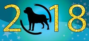 在2018新年clipart圣诞快乐新年好上写字的中国狗silhouetteVector设计金子闪烁生动描述eps蓝色 向量例证