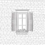 在破旧的砖墙背景的古典窗口 免版税图库摄影