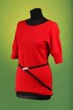 在黑时装模特的红色礼服 库存照片