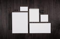 在黑时髦的木背景的空白的公司文具 烙记假装为烙记的,图表设计师介绍和Bu 库存照片