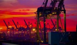 在黎明前光的装货起重机 库存图片