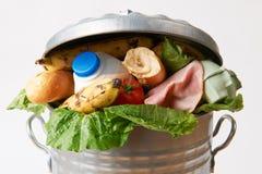 在说明废物的垃圾箱的新鲜食品 免版税库存图片