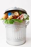 在说明废物的垃圾箱的新鲜食品 免版税图库摄影