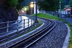 在黎明的铁路 库存图片