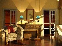 在黄昏光的经典客厅内部 皇族释放例证