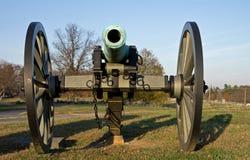 在黄昏太阳的南北战争大炮 免版税图库摄影