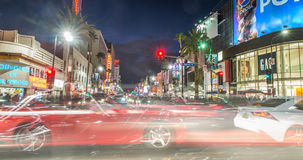 在黄昏时间的好莱坞大道 图库摄影