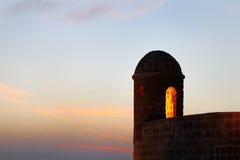 在黄昏期间的美丽的手表塔 免版税库存图片