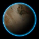 在黄昏的无人居住的沙漠行星 免版税库存照片