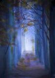 在黄昏的树 免版税库存照片