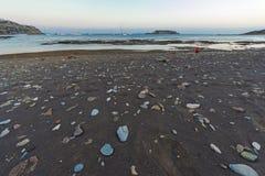 在黄昏的海角Sounio 免版税库存照片