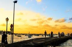 在黄昏的码头 图库摄影