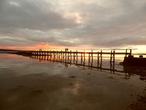 在黄昏的Culross码头 免版税图库摄影