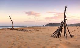 在黄昏的Cuttagee海滩 库存图片