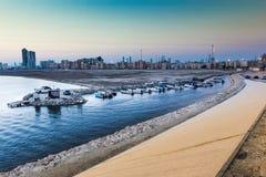 在黄昏的Tubli海湾,巴林 免版税库存图片