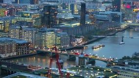 在黄昏,伦敦的伦敦市视图 股票视频