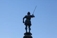 在水星喷泉的雕象在广场de旧金山,塞维利亚,温泉 免版税库存照片