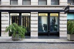 在139春天St,纽约的香奈儿商店外视图 免版税库存照片