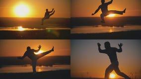 4在1 -是执行的capoeira战斗在橙色日落前面的空手道人 库存图片