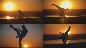 4在1 -是执行的capoeira战斗在橙色日落前面的fcrobat男性 库存照片