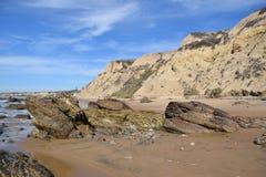 在水晶小海湾国家公园,南加州的海岸线 免版税库存图片