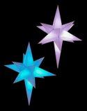 在水晶形状的两装饰品花梢光 库存图片