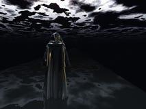 在黑暗前的人 向量例证