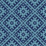 在黑暗和浅兰的颜色的编织的华丽无缝的样式 向量例证