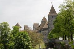 在阴暗天期间,拉珀斯维尔城堡 免版税库存图片