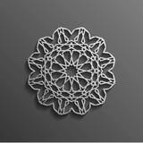 在黑暗的坛场圆的装饰品背景建筑回教纹理设计的伊斯兰教的3d 能为小册子使用 皇族释放例证