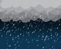 在黑暗的天空,传染媒介的大雨 免版税库存照片