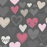 在黑暗的无缝的样式的不同的形状的心脏 库存图片