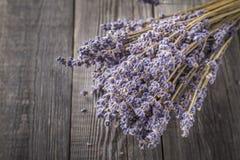 在黑暗的木桌上的干淡紫色束 免版税库存图片
