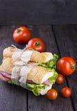 在黑暗的木背景和蕃茄的两个三明治 免版税库存照片