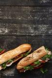 在黑暗的木背景的两条金枪鱼三明治 免版税库存照片