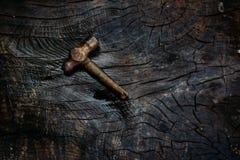 在黑暗的木背景的老和生锈的锤子 免版税库存图片