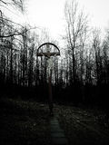 在黑暗的森林黑色树的十字架 免版税库存图片