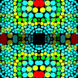 在黑暗的背景几何背景的明亮的色环 向量例证