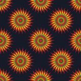 在黑暗的背景无缝的传染媒介样式的抽象星 免版税库存图片