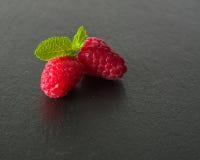 在黑暗的背景的成熟水多的莓 新绿色留下薄菏 免版税库存图片