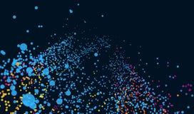 在黑暗的背景的抽象数字式微粒与小点 生物发光学 浮游生物的照明 明亮的许多 免版税图库摄影