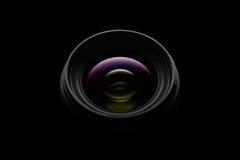 在黑暗的背景的摄象机镜头特写镜头 库存图片