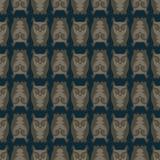 在黑暗的背景的无缝的猫头鹰样式 免版税库存图片