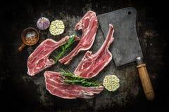 在黑暗的背景的未加工的新鲜的羊羔肉 免版税库存图片