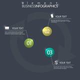 在黑暗的背景的现代设计infographic 3d光滑的球元素模板 免版税库存图片
